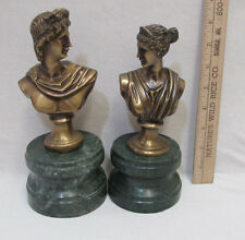 Pair Lacquered Antiqued Brass Roman Greek Man & Woman Bust Figurines Marble Base