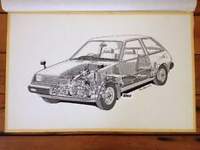Original Cutaway Drawing Mitsubishi Mirage Autocar Magazine Illustration 1978