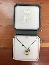 NEW juicy couture cut yellow crown rhinestone & bow wish necklace in gift box