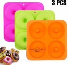 Bakhuk 3pcs 4Inches Donut Baking Pan Full Size Non Stick Silicone Molds Donut.