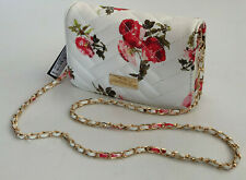 NEW! BEBE SOPHIA WHITE FLORAL QUILTED WOVEN CHAIN CROSSBODY SLING BAG $69 SALE
