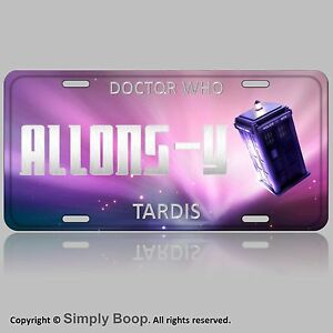 L@@K! Doctor Who Allons-Y  Allonsy Tardis Car Vanity Tag  License Plate Aluminum