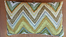 Pier 1 Pillow Cover Chevron mid century modern Embroidered Green Gold 12 x 19