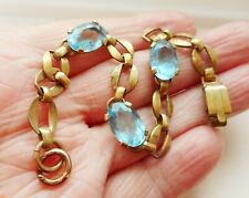 Antique Art Deco Pretty Rolled Gold & Sapphire Glass Bracelet