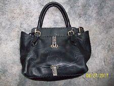Fendi Selleria w/.925 SILVER-- Lavorazione A Mano black Leather Handbag NICE!!