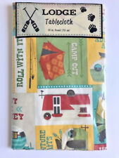 """Camping Camper Lodge Woods Vinyl Tablecloth Flannel Backed 60"""" Round New"""