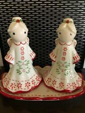 Temp-tations by Tara Holiday Christmas Angels salt/pepper shakers with tray, NIB