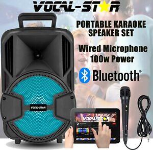 Vocal-Star Portable Bluetooth Karaoke Machine 100w 1 Wired Microphone VST100