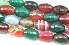 Mixed Colour Faceted Barrel Oval Agate Semi-precious Gemstone Beads