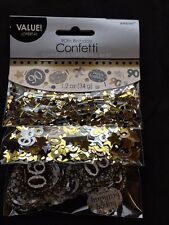 90th Birthday Confetti Table Decoration Sprinkle Black Silver Gold Age 90 Party