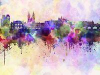Painting Illustration Cityscape Paint Splash Skyline Prague Canvas Art Print