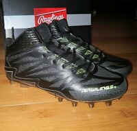 Rawlings Boys Stinger Mid Football Cleats Black Green Kids Metal Shoes Size 6