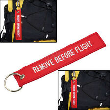 1x Red Key Chain Aviation Atv Bag Motorcycle Pilot Crew Tag Remove Before Flight