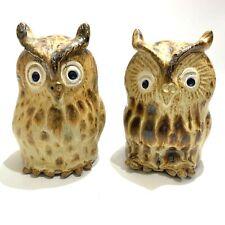 Hogue Vernon Pottery Owl Salt & Pepper Shaker Set Handcrafted Stoneware Kiln