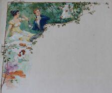 Le Pique-nique Aquarelle originale ca 1920 Atelier PICHON Projet de MENU Vache