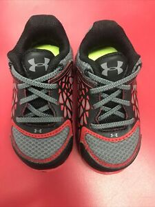 EUC Under Armour Infant Shoes Size 4 Red Black Gray