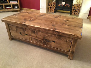 RUSTIC CHUNKY WOODEN COFFEE TABLE - MADE TO SUIT ANY SIZE