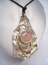 Ciondolo in ARGENTO 925 con QUARZO ROSA naturale -pendente pietra dura girocollo