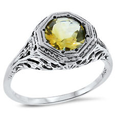 Filigree Style Ring Size 7, #133 Genuine Citrine .925 Sterling Silver Antique