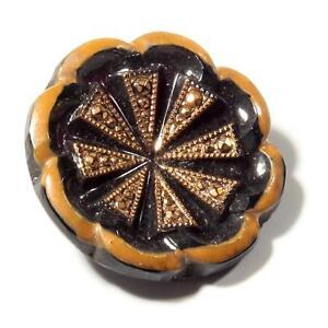Czech vintage gold gilt black flower glass button 22mm