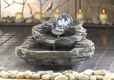NEW ROCK DESIGN TABLE TOP WATERFALL FOUNTAIN CLEAR SPINNING BALL INDOOR BLACK