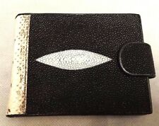 Men's Wallets Python Stingray Skin Leather Trifold Coin Bags Purses Genuine
