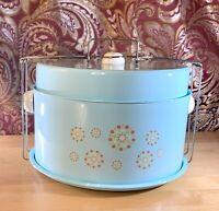 Vintage Metal Cake Carrier Two Compartments 4pc Set Sky Blue Dessert Carrier Rar