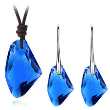 Royal Dark Blue Swan Jewellery Set Drop Earrings Leather Necklace Pendant S798