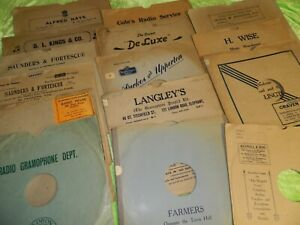 """28 x Original UK 12"""" 78rpm card """"shop"""" record sleeves ALL USABLE AND PICTURED"""