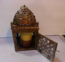 Vintage Metal Hanging Decorative Lantern for Candle w/ hinged door