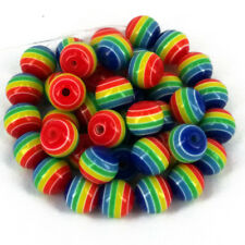 50 x Acrylic round beads Rainbow gay  10mm x 9mm Jewellery making Kids Craft A5