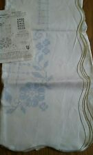 "VINTAGE VOGART PURE LINEN 52""x70"" TABLECLOTH STAMPED FOR EMBROIDERY"