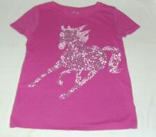 Gap PINK UNICORN TOP L 10 12 girl SHORT SLEEVE T-SHIRT SPARKLE SILVER COTTON KID