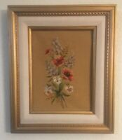 "Antique/Vintage Frame Victorian Floral Bouquet Needlepoint 23.5""x 19.5"""