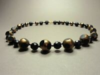 Vintage Bohemian Matte French Jet & Gold Covered French Jet Glass Bead Necklace