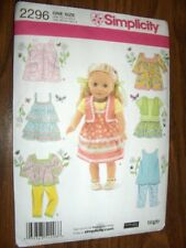 "18"" Doll NEW Simplicity 2296 Heigl Pattern Summer Tops Pants Fits American Girl"