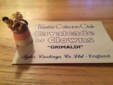 Collector Club TCC Cavalcade of Clowns Grimaldi Thimble With Card England Rare