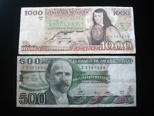 MEXICO 500 & 1000 PESOS 1982 1982 PAIR MEXICAN 5335# CURRENCY BANKNOTE MONEY
