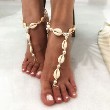 Chain Toe Ring Beach Ankle BraceletL8Y Pearl Shell Barefoot Sandal Anklet Foot