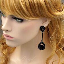 New Alloy Black Jet Crystal Rhinestone Drop Dangle Earrings 08891 Party Prom