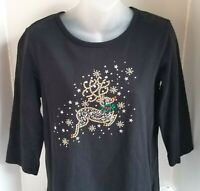 QUACKER FACTORY Rhinestone Embellished Holiday RUDOLPH Shirt Top A83869 SMALL