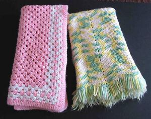 """2 Hand Craft AFGHAN Throw Blankets grn yello 33x38"""" Acrylic Yarn 35x37"""" FREE SH"""