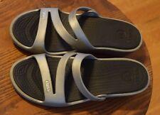 """Crocs """"Patricia"""" Comfort Sandals Slides Shoes Women's Size 8 Silver Gray"""