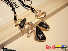 Fashion Chic Black Leather Strap Necklace with White Gray Clear Crystal Pendant