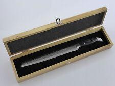Brotmesser 9' - Damaszener Stahl in Hammerschlag Design mit Micarta Griff