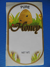 Beekeeping - 250 PURE Honey labels_golden beehive skep design (Code 744)