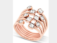 MICHAEL KORS Womens Modern Brilliance Rose Gold Ring Crystals Open Scatter Sz 8
