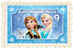 FROZEN RECTANGLE OR SQUARE PERSONALISED ICING EDIBLE COSTCO CAKE TOPPER J-087G