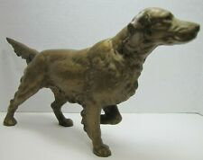 Antique Cast Iron English Setter Hunting Pointer Dog Figural Doorstop Gold Paint