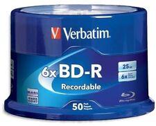 50 pack VERBATIM 6X Blu-Ray BD-R 25GB Branded Logo Spindle Media Disc 98397
